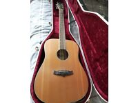 Tanglewood dreadnought acoustic guitar. With case.