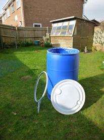 Large Blue Plastic storage Barrels 220 lts