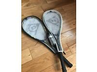 Two Squash Racquets with three balls