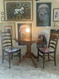 Ladder back walnut stained dinning chairs PRICE REDUCTION