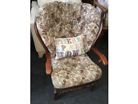 Lovely Vintage Ercol Style Armchair with Floral Fabric Cushions Solid Elm Wood