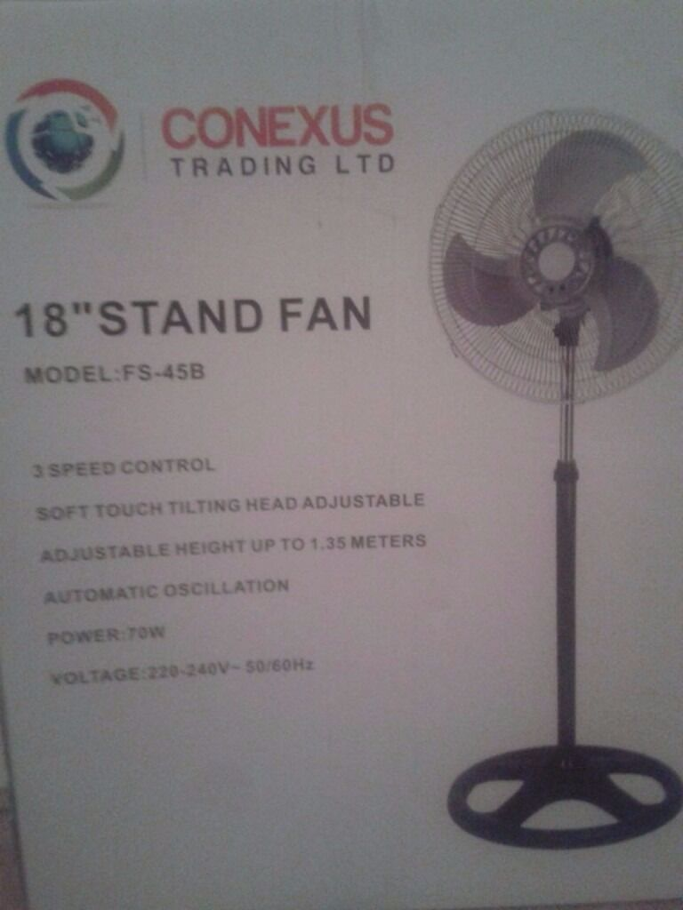 "18"" Stand fan good condition for salein Wembley, LondonGumtree - 18"" stand Fan Model FS 458 3 speed control Soft touch tilting head adjustable adjustable height up to 1.35 meter Automatic Oscillation Voltage 220 240v"