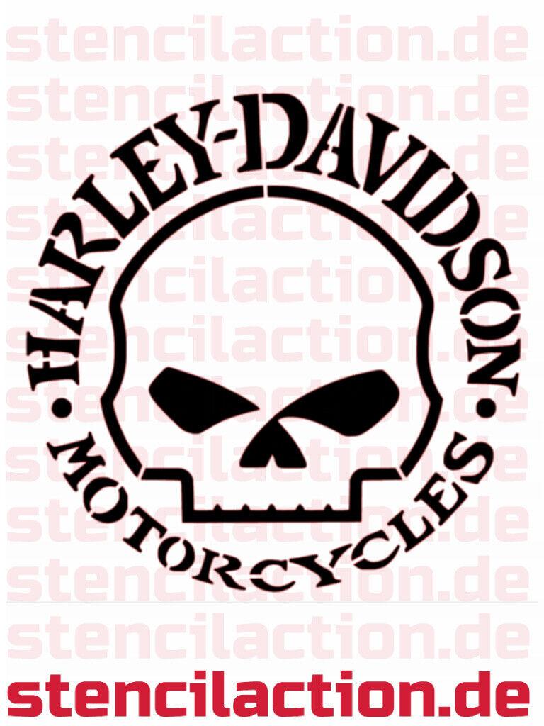 "Schablone - Harley Davidson ""Skull"" 19x19 cm - Stencil Leinwand Airbrush"
