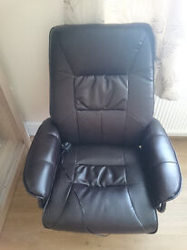 Brown Massage Recliner Chair+Real Leather Swivel Armchair with Foot Stool