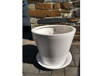 Gloss White Ceramic Plant Pot and Base from Ikea