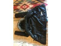 Parka coats, size 12, green and black