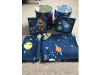 Boys cot bedding, lampshades and pictures