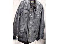 Barbour black leather 'international' biker jacket, men's, large