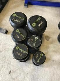 Set of Single Rubber Dumbbells - Weights Gym