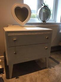 White vintage dresser/sideboard with heart mirror