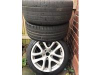 """Genuine VW donington 17"""" alloys two tyres good two at the limit"""