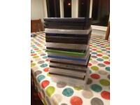 22 empty DVD cases.