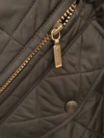 Black BARBOUR quilted jacket with leather trims