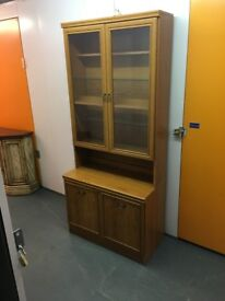 **REDUCED**tall wooden display cabinet with glass shelves and lights