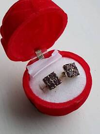 Silver & amythest earrings