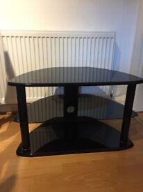 Black Wood & Glass TV Stand