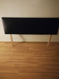 Black Faux Leather Double Bed Headboard