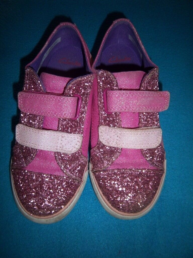 Clarks Girls Flamingo Glitter Pink Doodles Size 10.5 G IP1