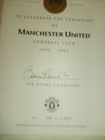 MANCHESTER UNITED Sir Bobby Charlton LIMITED EDITION SIGNED OFFICIAL ILLUSTRATED HARDBACK BOOK