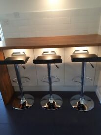 3 black kitchen bar stools