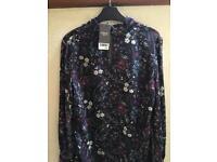 BNWT NEXT Black Floral BLOUSE / SHIRT. Size 14