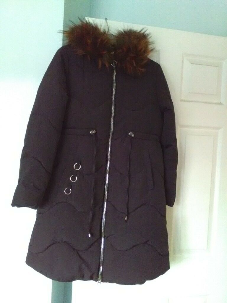 Clothes, Shoes & Accessories Women's Clothing Black Puffa Coat Size 8