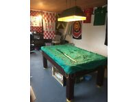 Belfast, larne, antrim, ballymena Slate bed pool table like new. Solid legs mahogany finish