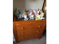 Mamas & papas 3 piece nursery furniture set, wooden wardrobe, drawers & cotbed with mattress