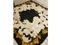 Ladies 100% silk square scarf CHANEL black cream & gold New with no labels