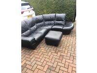 Dfs black Italian leather corner sofa del available