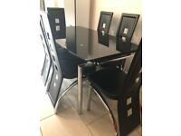 Black high gloss table & 6 chairs