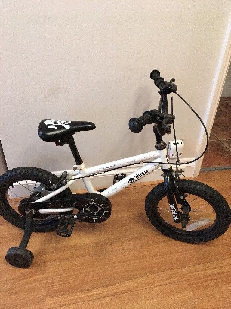 Boys 14 Inch White & Black Pirate BMX Bike with stabilisers.