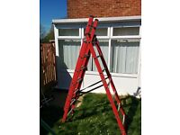 Fibre glass A-Frame triple extension ladders step ladders