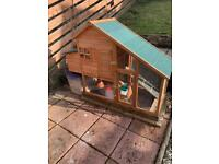 Chicken coop and 3 chickens
