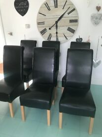 Dining chairs 6 x Black Faux Leather