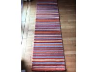 MULTICOLOURED STRIPED RUNNER RUG. 200 X 65. EXCELLENT CONDITION. GLASGOW G46