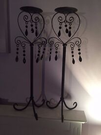 Pair of metal candles holders Height = 60cm
