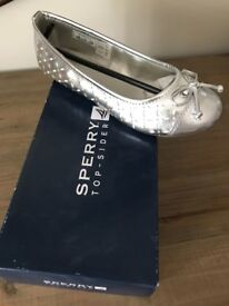Girl's Sperry Silver Pumps - Never worn, still in box