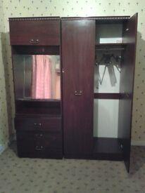 Wardrobe and Dresser with Mirror