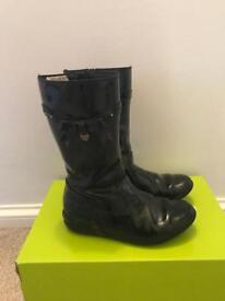 Girls Clark's Black Patent Boots 13G