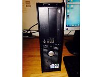 """(Hardly used) Dell PC desktop computer with 15"""" HP monitor + Keyboard & mouse"""