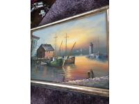 Large Beautiful Oil painting of boats