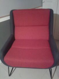 x2 Designer large armchairs.;Naughtone make,minimalist frame.RED+GREY. new.N3