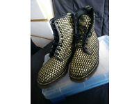 Dr Marten Original Boots, gold glitter size 5