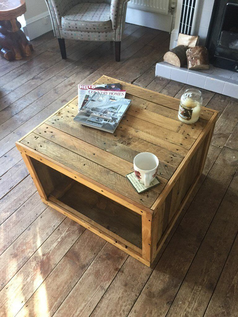 Handmade Reclaimed Pallet Wood Crate Style Coffee Table