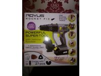 18v Lithium Drill/Impact Driver/Saw/Sander All in 1 Rovus Rocket Fix (Brand New Boxed) Free 27pc Kit
