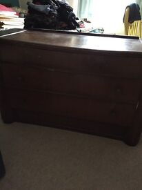 Dark wood dressing table drawers