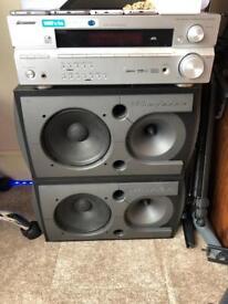 Wharfadale speakers and pioneer amp