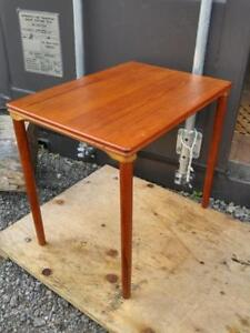 "Teak Table SOLID WOOD / Vintage Mid-Century Danish / MCM Retro Decor 15.5""X 21.5"" X 19""h Lovely Red Brown Oakville"