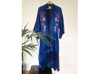 Antique 1950's hand embroidered Chinese silk robe by Plum Blossoms
